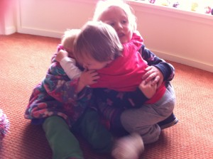 Clare and I's little angels Shanti, Surya and Jude having a group hug after BB!