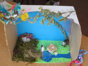 A box, paper, willow catkins and grass became a fairy world from one of my daughter's favourite stories.